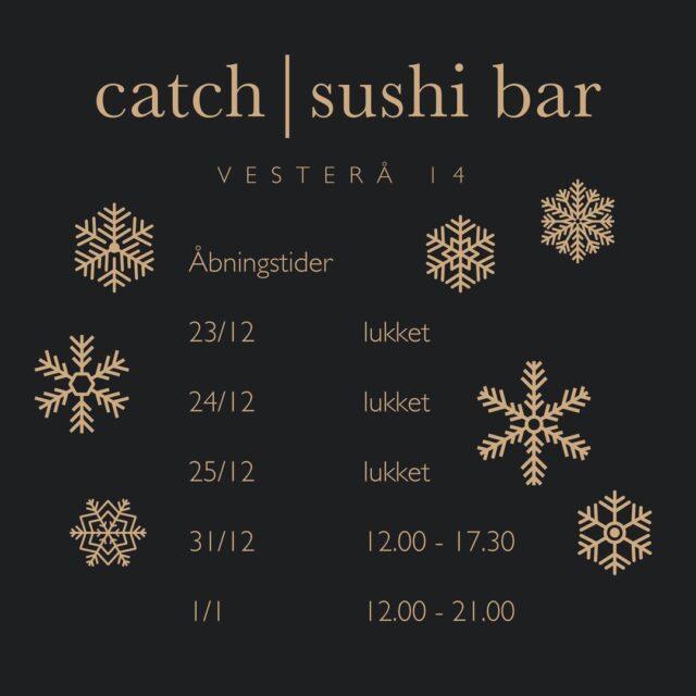 Halløj derude,   Julen er lige om hjørnet og derfor får I vores åbningstider op til juleaften og efter 😉  Følg med på Facebook, for vi kommer med en lille konkurrence senere 😁  Glædelig jul 🎄  De kærligste hilsner fra teamet hos Catch Sushi Bar & Cocktails  #catchsushibar #thaimad #sushi #thaifood #aalborg #migogaalborg