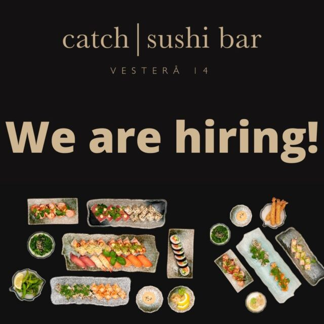 Are you the one to join our team? 🤔  Since we are reopening, we need extra hands to help 🥵   We are looking for staff to cover the following positions: - Kitchen staff - Waiters/waitresses  - Cleaning staff - Dishwashers  - Bartenders   Do you feel that you have what it takes to become part of our team? 😉  Then you are more than welcome to check out the link below:  👇👇  https://catchsushibar.dk/job/  We look forward to read your application 😁  Sincerely the team at Catch Sushi Bar & Cocktails   #catchsushibar #job #staff #application #migogaalborg #aalborg #sushi #nigiri #fresh #food #WeNeedYou