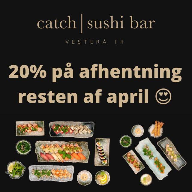 Genåbningsfesten er først kun startet 🥳  Husk at vi fortsat tilbyder takeaway som vi plejer 😋  Og som tak for en fantastisk dag i dag, fortsætter vi med at give HELE 20% på takeaway ved afhentning 😍  Ha' en skøn aften 😁  Glade hilsner fra teamet hos Catch Sushi Bar & Cocktails   #catchsushibar #vesterå #takeaway #20procent #sushi #fresh #nigiri #foodporn #aalborg #migogaalborg #nørresundby #food